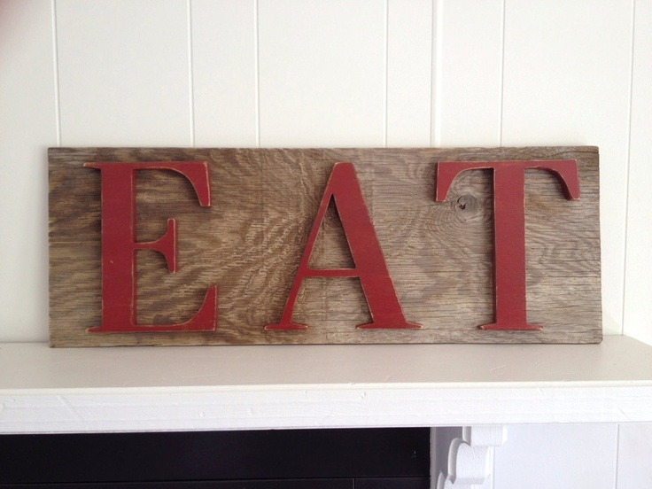 rustic eat kitchen sign upcycled red brown large restaurant decor