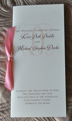 Sample Wedding Programs: Sample Wedding Programs Probably would not do the bow, but very cute!