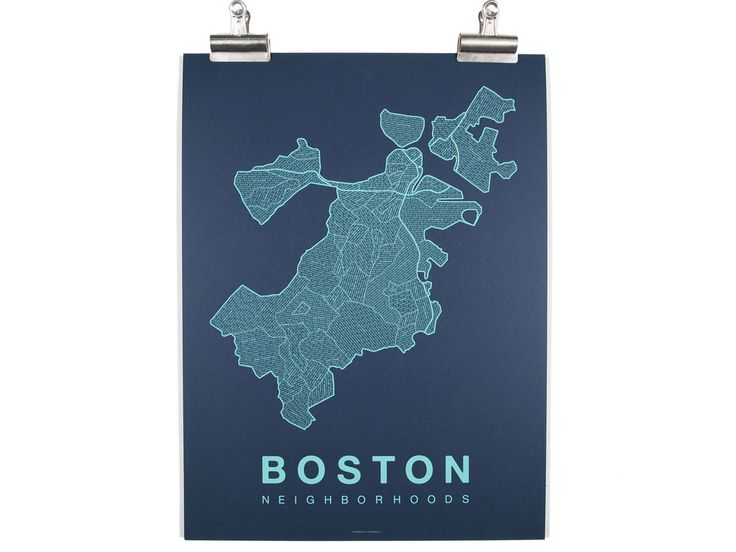 "The Boston Neighborhood Map is a hand-pulled screenprint on archival 100 lb  paper (French Paper Company). This particular print features bright teal  ink on dark blue paper. Prints are 18"" x 24"", perfect for framing.   Posters ship in a plastic sleeve inside a sturdy cardboard tube. Orders are  packaged and shipped within 24 hours.   www.nativemaps.us"
