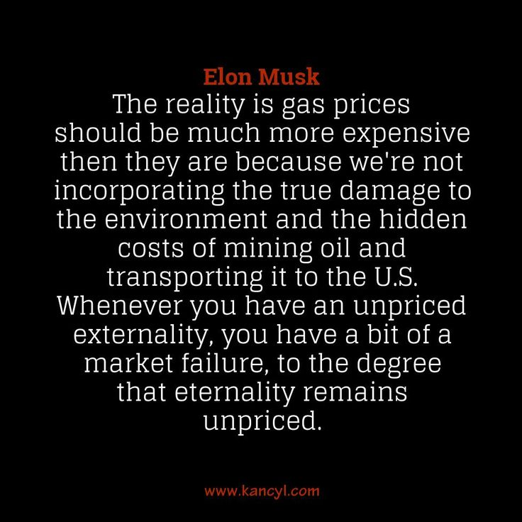 """""""The reality is gas prices should be much more expensive then they are because we're not incorporating the true damage to the environment and the hidden costs of mining oil and transporting it to the U.S. Whenever you have an unpriced externality, you have a bit of a market failure, to the degree that eternality remains unpriced."""", Elon Musk"""