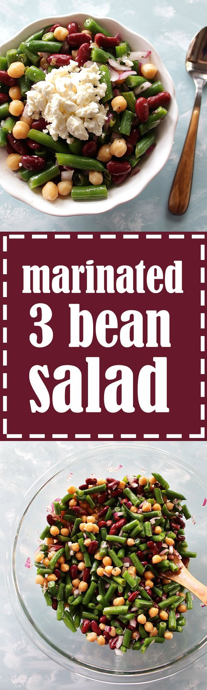 Marinated 3 Bean Salad - This salad is perfect for school/work lunches or prepping meals. It makes a huge batch and lasts for up to one week! Crunchy green beans, creamy red kidney beans, and chickpeas all marinate in a tangy red wine vinaigrette. This recipe is EASY to make! Vegan/gluten free.