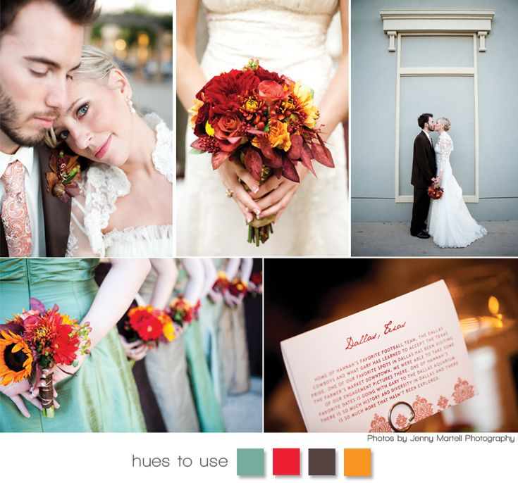 Red, Orange, Turquoise and Brown wedding inspiration board.  Beautiful hues for an Autumn wedding!  Photography by Jenny Martell Photography.  #wedding #red #orange #turquoise #brownBrown Weddings, Colors Combos, Beautiful Hues, Inspiration Boards, Fall Autumn, Colors Palettes, Autumn Weddings, Colors Schemes, Fall Wedding Colors