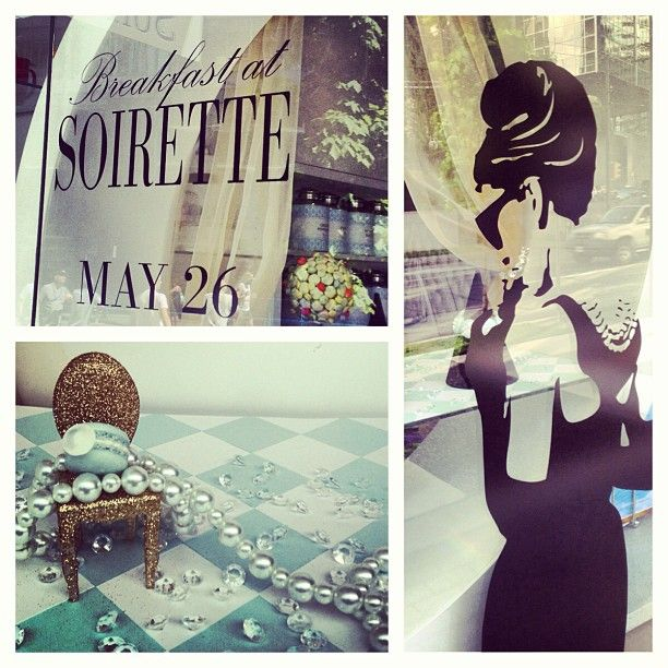 Our new window display created for our Breakfast at Soirette event-May26th. www.soirette.com for more details  #soirette #macaron #AudreyHepburn #tea