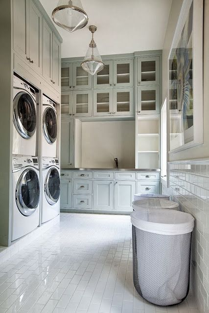 Love this laundry room! Don't think I need two washers and two dryers, but I…