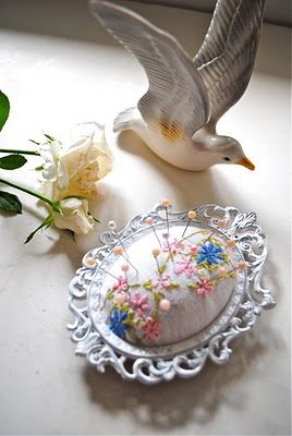 Ornate pin cushion #notions  Lovely! You could make this with any frame and a ton of different fabrics.  Just beautiful!