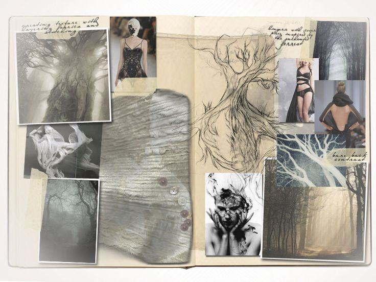 Fashion Sketchbook - fashion design development - trees & textures; research, ideas & sketches; fashion portfolio