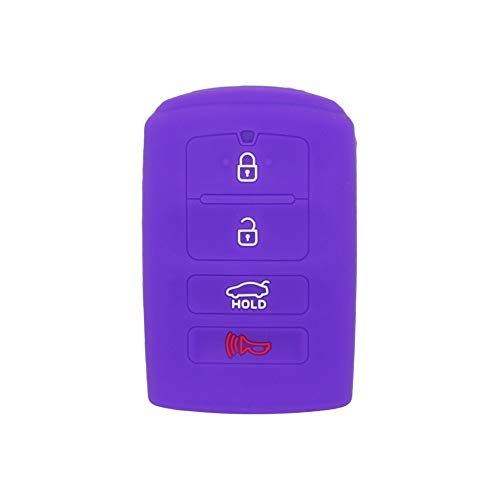 Fits NISSAN New Skin Jacket Silicone Remote Key Fob Cover Bag Holder-Purple