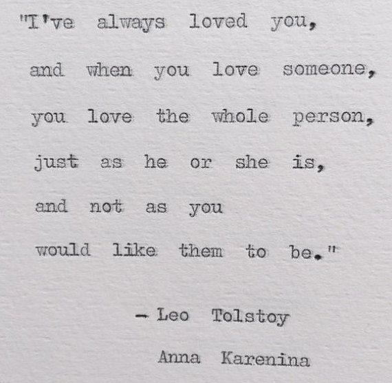 Tolstoy Anna Karenina Typewriter Quote; weddings, love, bookish