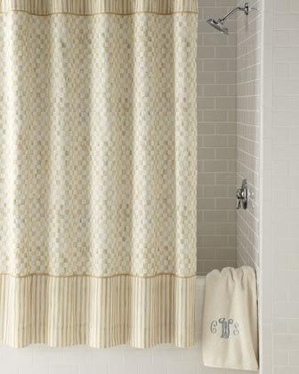This shower curtain displays the exclusive MacKenzie-Childs Parchment Check design and is finished with stripes at top and bottom. Made of linen and cotton. 70inW x 72inL. Imported. More Details