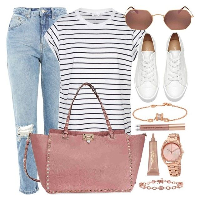 """""""Saturday"""" by jomashop ❤ liked on Polyvore featuring Topshop, Valentino, Ray-Ban, Bulgari, Michael Kors, tarte, Kevyn Aucoin, white and Pink"""