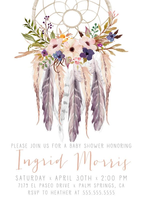 Girl Baby Shower Invitation, Boho, Dream Catcher, Watercolor Flower, Feather, Printable, Digital Invites [113e] Celebrate your special event with