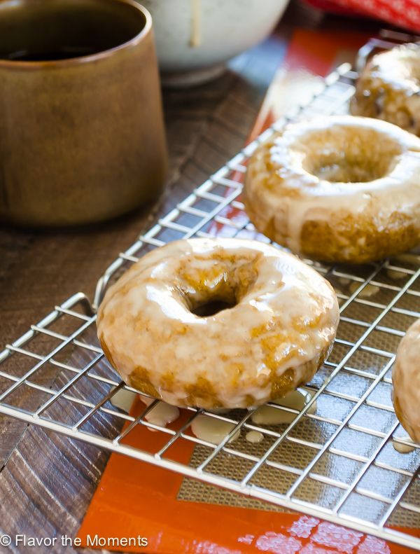 Espresso Glazed Baked Pumpkin Donuts are healthier pumpkin spice donuts topped with a luscious espresso glaze!