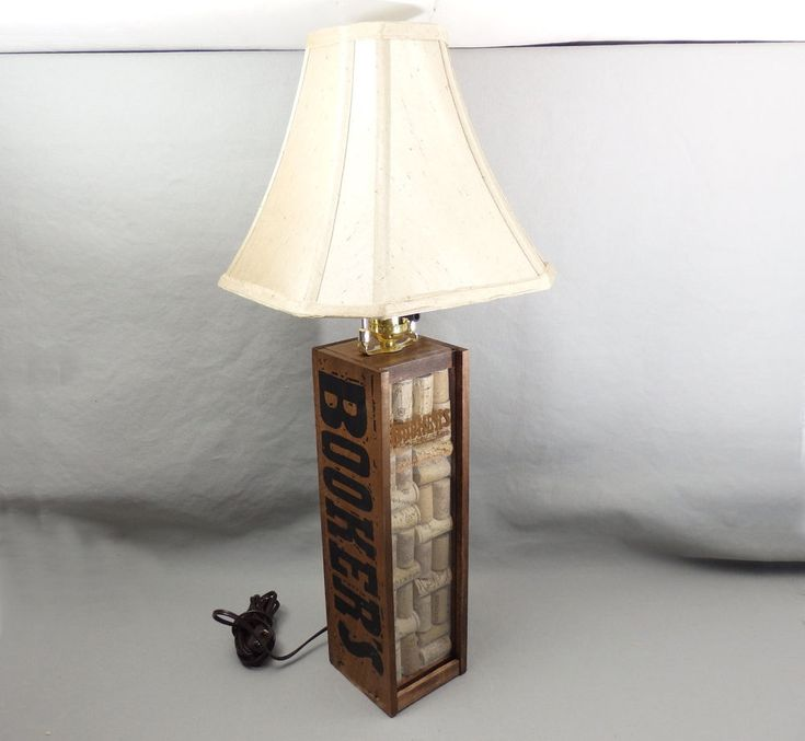 Booker's Bourbon Box Lamp Shade Working Bulb Included Cork Front Office Brown #Handmade #RusticPrimitive