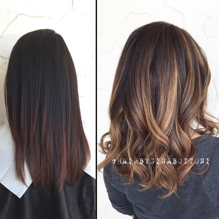 "⠀⠀⠀⠀⠀⠀⠀⠀⠀ •GINA BOTTONI• on Instagram: ""Kiara's first step! Before and after from dark hair. Soft dimensional balayage."""