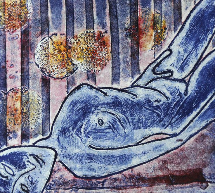 Reclining Nude by Angela Mellen Collograph