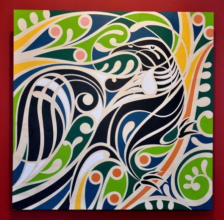 Shane Hansen Kura Gallery Maori Art Design New Zealand Plywood Print Te Tui Kowhai