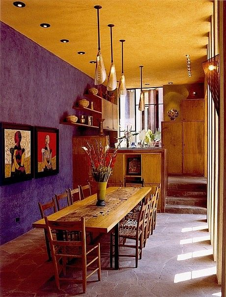 Purple & gold southwestern dining/ House + House Architects