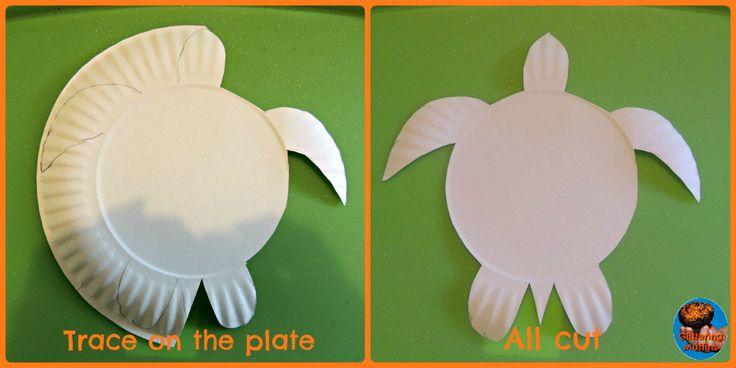 Dot art paper plate turtle - making