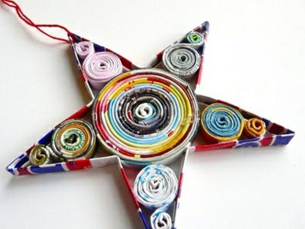 rollen Weihnachtssterne basteln vorlagen kinder papier gewickelt