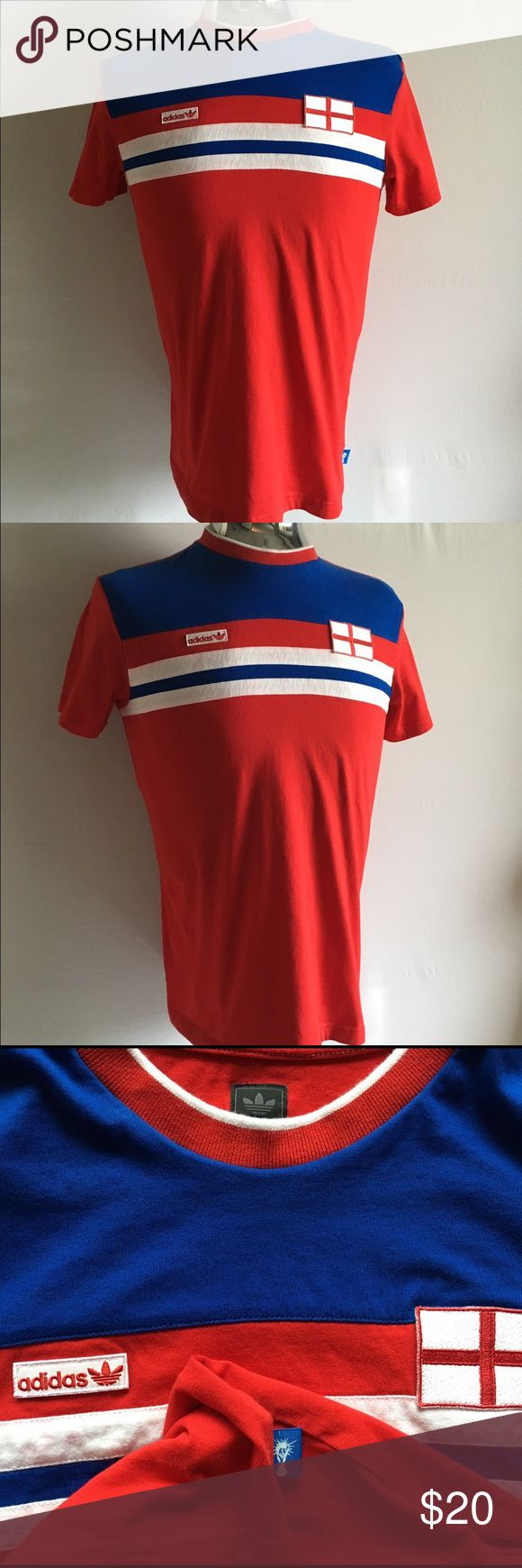 """Adidas Originals England T Shirt Adidas Originals England T Shirt comes in a soft cotton with England patches. Size: S Chest: 40"""" Length: 26 1/2"""" Shoulder to Shoulder: 17"""". In excellent condition. Adidas Shirts Tees - Short Sleeve"""