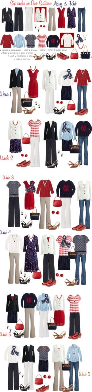 Six weeks in one suitcase: Navy & Red work capsule