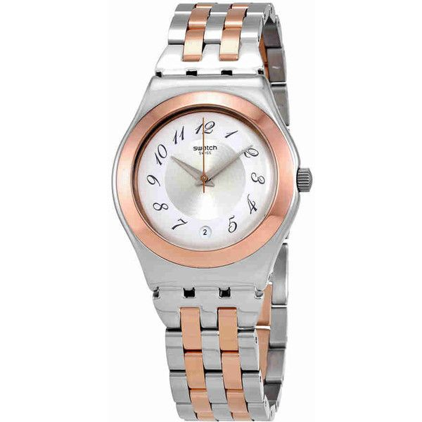 Swatch Midimix Silver Dial Ladies Two Tone Watch (1.755 ARS) ❤ liked on Polyvore featuring jewelry, watches, dial watches, swatch wrist watch, stainless steel watches, analog wrist watch and crown jewelry