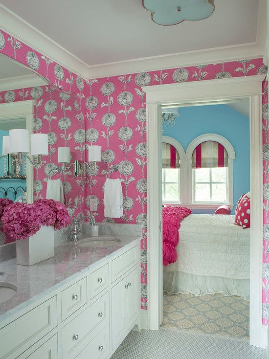 Kids Room Decorating Ideas for Girls with Colorful Design : Transitional Bathroom At Powder Room With Unique Lighting For Kids Room Decorati...