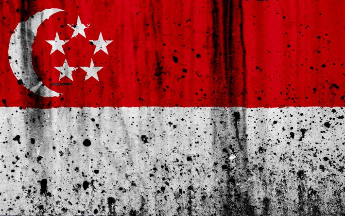 Download wallpapers Singapore flag, 4k, grunge, flag of Singapore, Asia, Singapore, national symbols, Singapore national flag