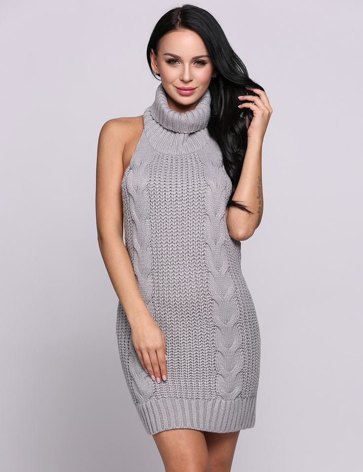 Grey Halter Collar Knitting Sleeveless Backless Solid Sexy Going Out Dress