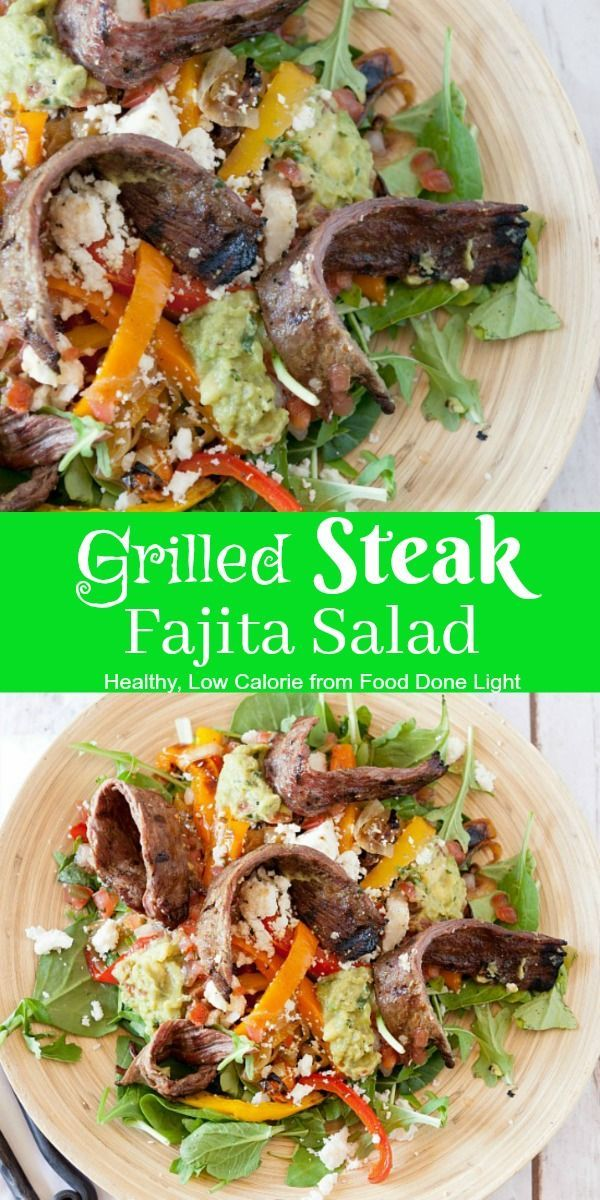 Enjoy steak fajitas in a salad. Grill Steak marinated with dried chiles and tequila to top fresh crisp lettuce along with sauteed peppers and onions.