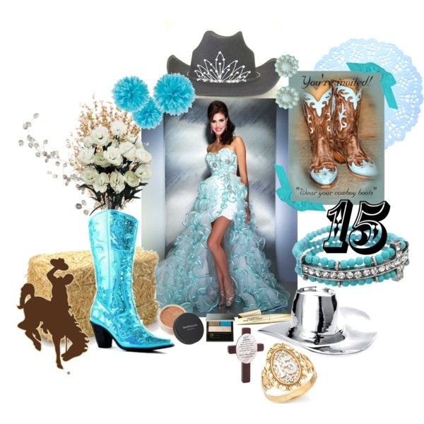 """Aqua Blue Country Western Vaquera Sweet Fifteen Theme"" by quincecandles on Polyvore #quinceanera"