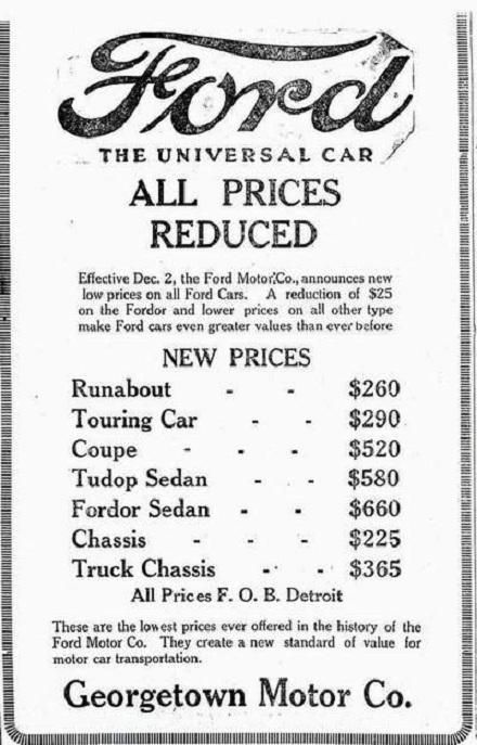 Model T Ford Prices in 1925 - a little before my time.