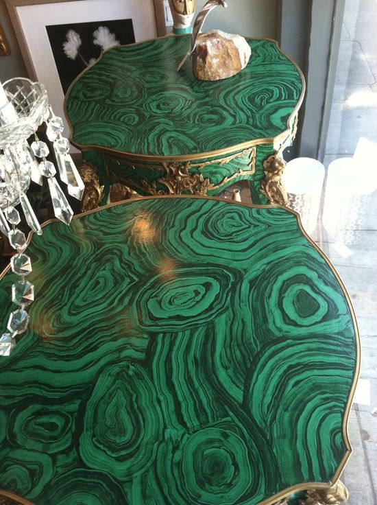Green Collections: Painted malachite side tables by Tony Duquette