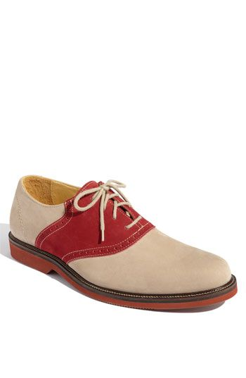 """uh huh  """"The jaunty style of a classic saddle shoe is updated with a suede and nubuck upper grounded by a durable rubber sole."""""""