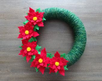 Christmas Yarn Wreath Poinsettia Wreath Handmade by KutItOutCrafts