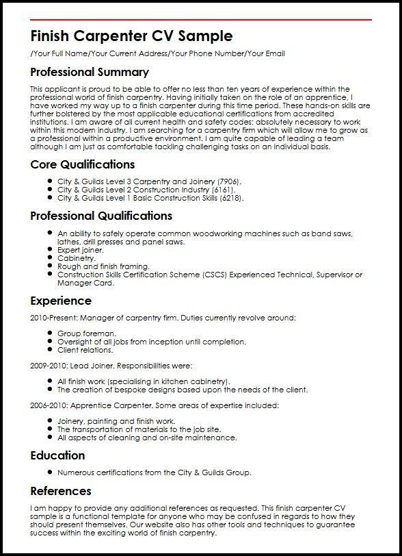 Finish Carpenter Cv Sample Myperfectcv Resume Examples Job Resume Resume
