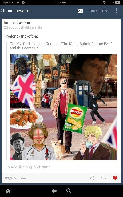 The Most British Picture Ever, Presented by her Majesty Google and her good friend Sir Tumblr<<< Loki or Tom Hiddleston should be in there too