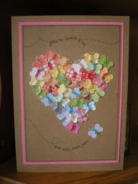"Lovely ""Butterflies"" Card...the butterflies are made from a heart punch & beads! Instructions included."