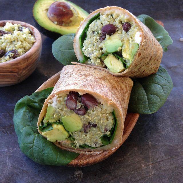 Black bean, feta & avocado quinoa wrap with avocado tahini sauce