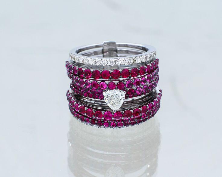 Absolutnie wyjątkowy pierścionek z diamentami i rubinami.   #diamenty #rubiny #pierścionek#serce #ring #diamond #rubins #gold #heart