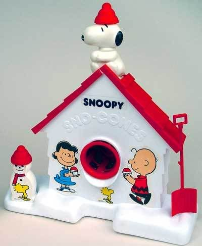 Snoopy and Peanuts Gang Snow Cone Maker. My god brother had one of these when I was growing up. I was so jealous! I wanted to use it everytime I went over to play. Ahhh, memories.