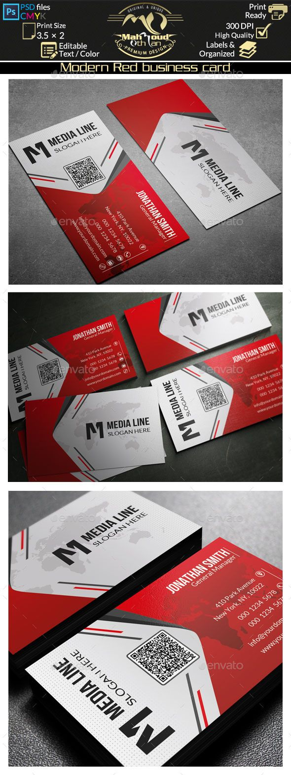 Buy Modern Red Business Card by on