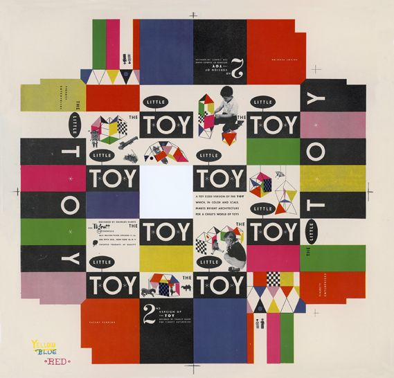 Eames, Little Toy box cover, 1952Graphic Design, Eames Offices, Toys Boxes, Packaging Design, Creative Review, Graphics Design, Boxes Covers, Toy Boxes, Ray Eames