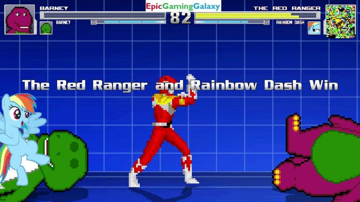 Barney The Dinosaur & Barney The Dinosaur VS Red Ranger & Rainbow Dash In A MUGEN Match / Battle This video showcases Gameplay of Barney The Dinosaur From The Barney & Friends Series And Barney The Dinosaur VS The Red Ranger From The Mighty Morphin Power Rangers Series And Rainbow Dash From The My Little Pony Friendship Is Magic Series In A MUGEN Match / Battle / Fight