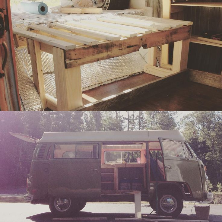 Back to work then! This may be a rickety, primitive, splinter ridden attempt at a pull out bed/couch, but it's the best I got and I'll be damned if it's not done by the end of the day. Stay tuned  #vwbus #vwcamper #DIY #vwinteriors #vwriviera #classiccar #vanlife