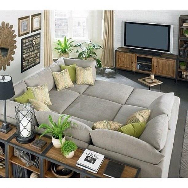 What a perfect sofa!  Huge Grey Greige Sofa TV Room