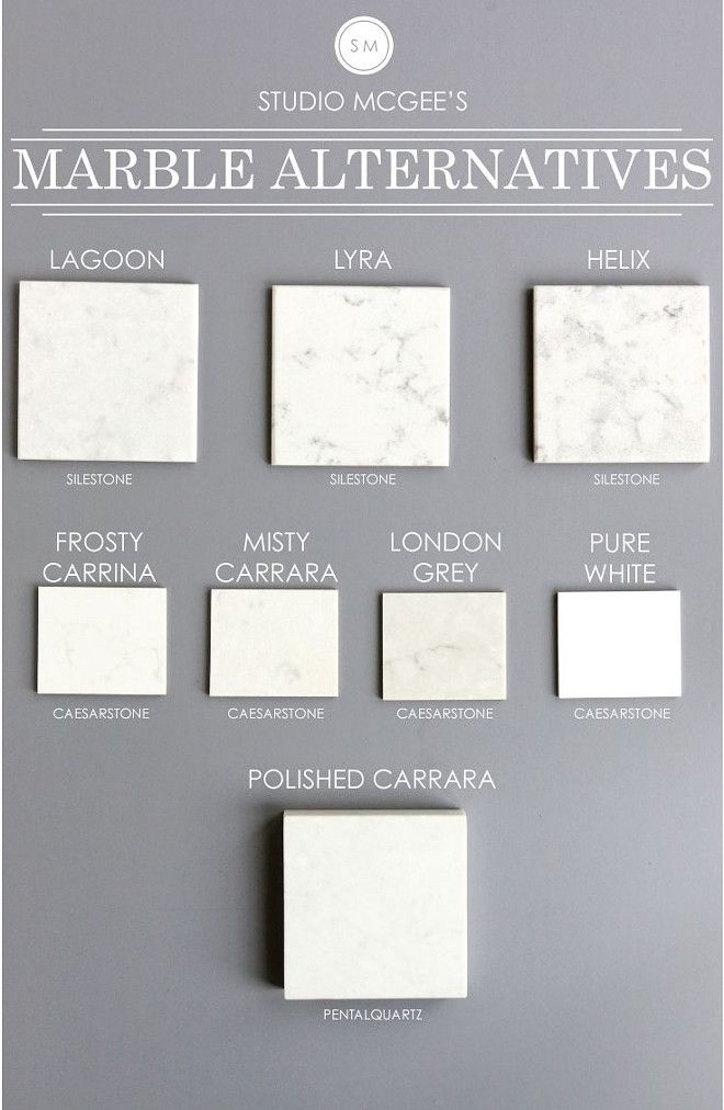 Marble Countertop Alternatives: Lagoon Silestone. Lyra Silestone. Helix Silestone. Frosty Carrina Caesarstone. Misty Carrara Caesarstone. London Grey Caesarstone. Pure White Caesarstone. Polished Carrara PentalQuartz.  Via Studio McGee Studio.