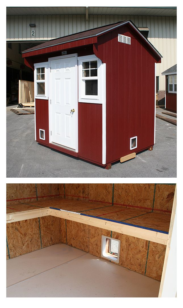 Cat house!  Here's something you don't see every day.  One of our creative customers asked us to modify this little 6x8 A-frame shed for her cats.  We added 2 little doors, lots of shelves for lounging and a Glasbord floor for easy cleaning.