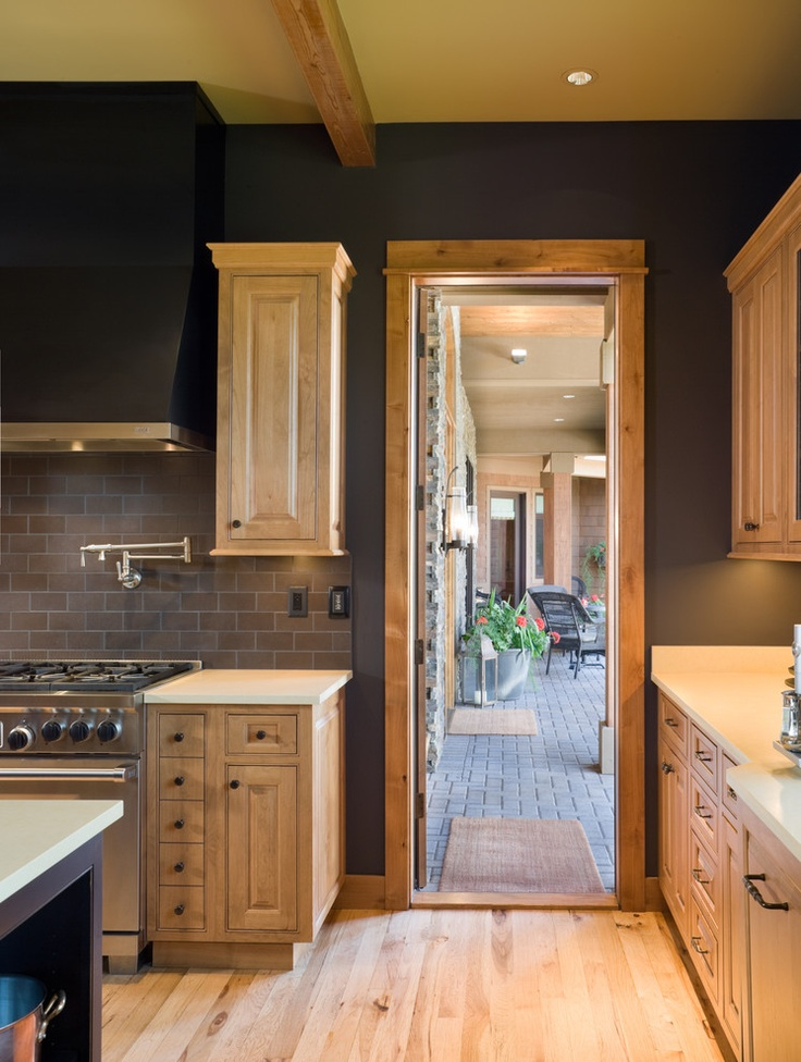 Charcoal walls with natural maple cabinets kitchen home for Dark walls in kitchen