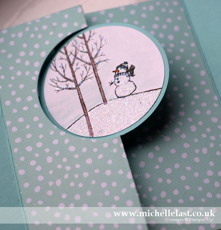 white christmas from stampin up, flip card, circle thinlit